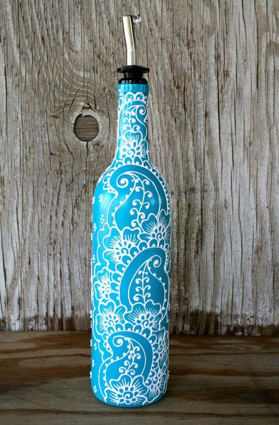 Hand Painted Wine bottle Olive Oil Pourer, Turquoise and White, Vibrant Henna style design, Olive Oil Dispenser