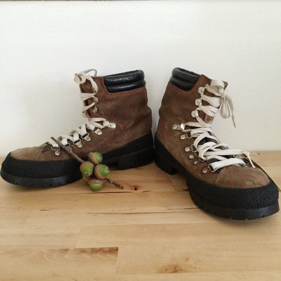 1970s vintage leather suede hiking boots by