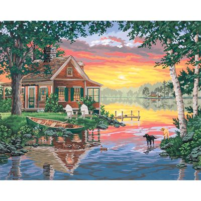 Dimensions 16×20 Paint By Number Kit – Sunset Cabin « Blast Groceries I have this one
