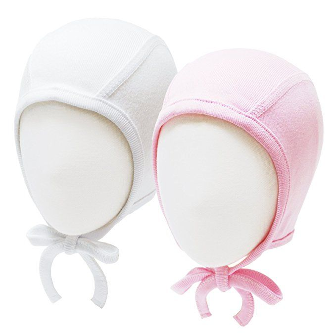 5PCS RareLove Newborn Hospital Hat with Stripe Bow Knot for Preemie Baby Girls Boys