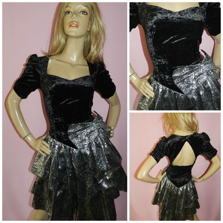 Vintage 1980s Black velvet METALLIC SILVER BOW front prom party dress 80s 10UK 6US S Cocktail Kitsch Cutout rear Rara skirt by HoneychildLoves on Etsy