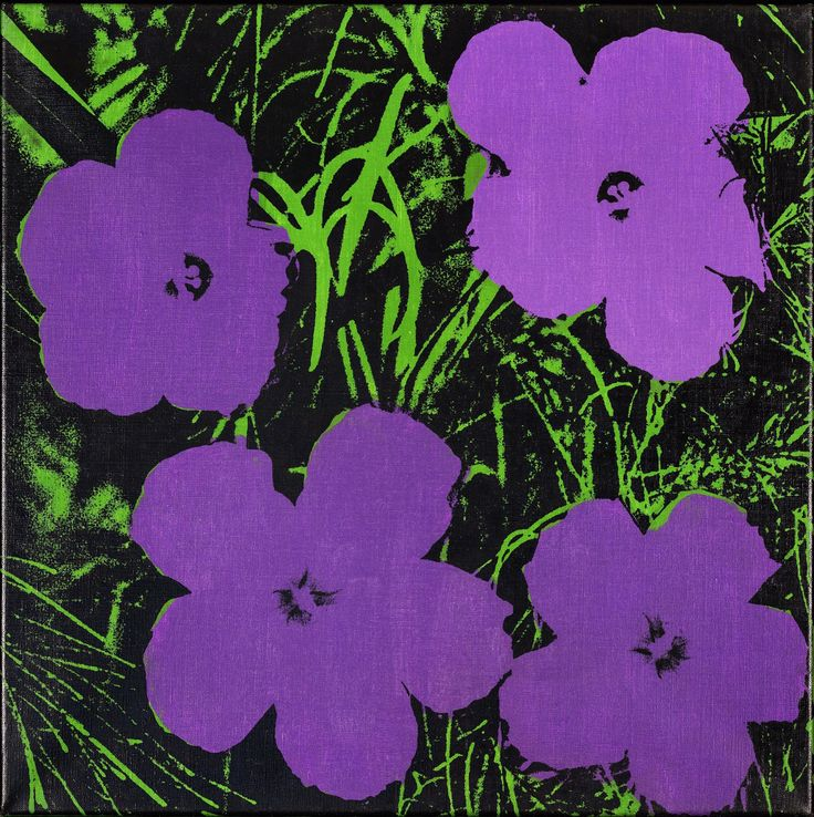 Purple 'Flowers' by Andy Warhol, 1964. Acrylic and silkscreen ink on linen, 24 x 24"