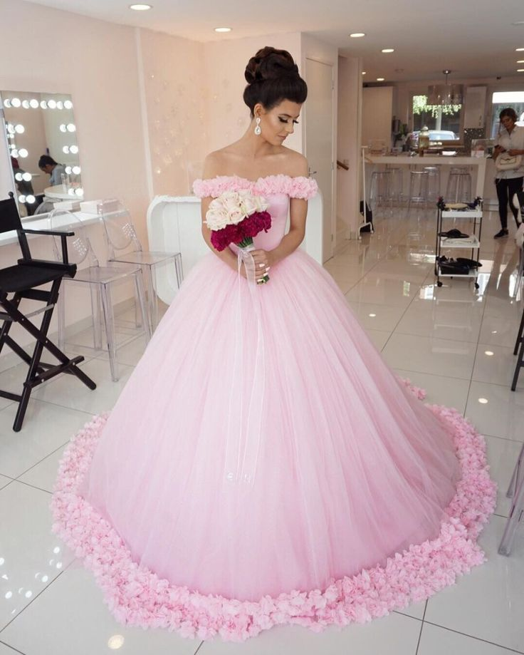Find More Wedding Dresses Information About Sexy Off Shoulder Pink Dress With Handmade Flower 2017