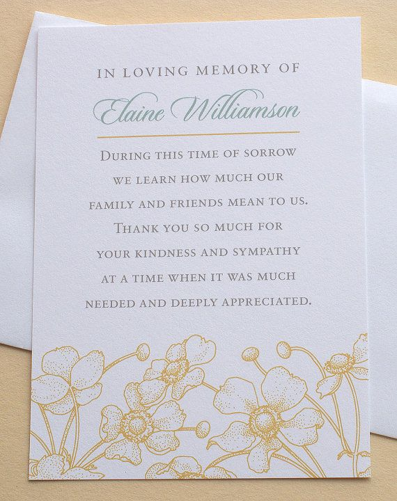 Best Funeral Thank You Card Images On   Sympathy