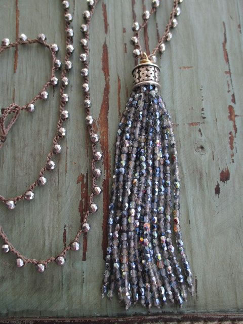 Sparkly tassel necklace  Shimmering Sea  iridescent by slashKnots