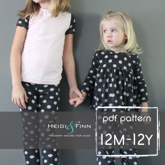 NEW All you Need Jammies pajamas pattern pdf 12M-12y leggings tee shirt nightgown  unisex
