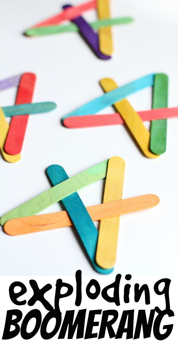 How to Make an Exploding Boomerang from Craft Sticks. Such a fun and simple activity for kids!