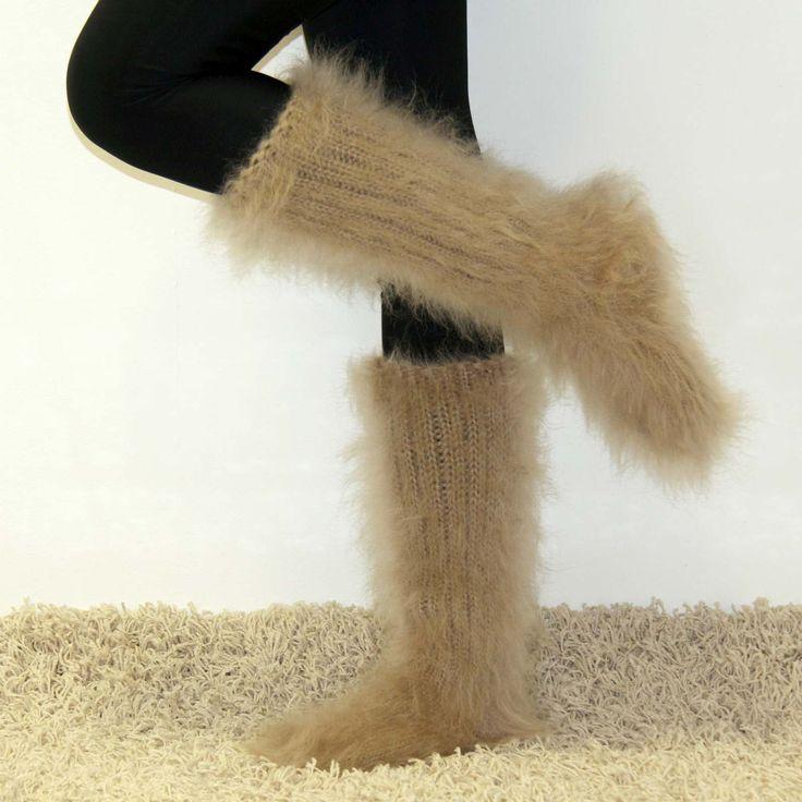 100% Hand knitted fuzzy mohair socks in beige
