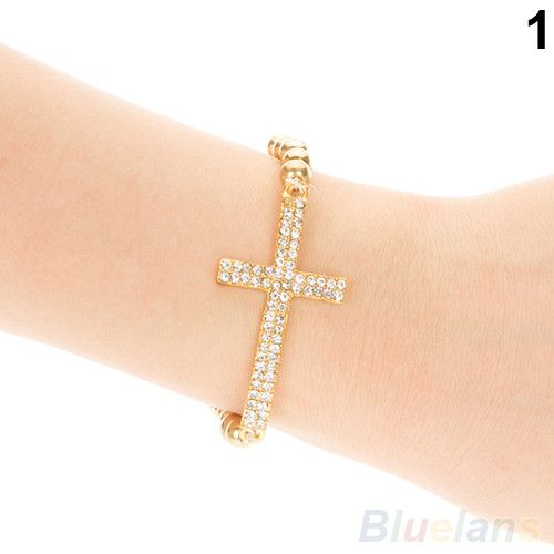 Crystal Rhinestone Cross Love Infinity Stretch Beaded Bracelets & Bangles