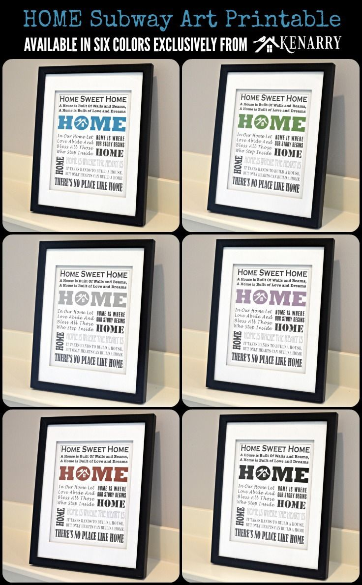 Home Subway Art Printable: Available in Six Colors Exclusively from Kenarry
