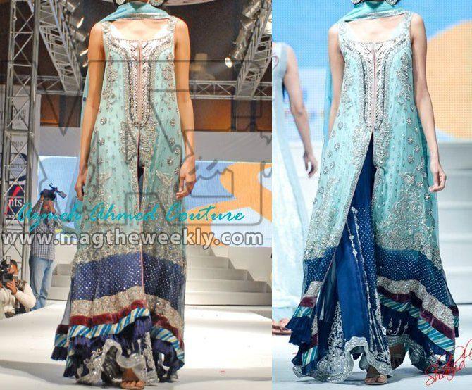 Light and Dark Blue Bridal Dress #pakistanibridal