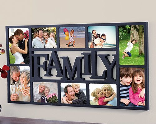 10-Piece Photo Frame £19.00 Family photo frame with spaces for 10 photos. Don't store all your family memories in digital format where no one can see them - use this stylish multiple photo frame to show them off to the whole world to see.  Holds 6 size 15 x 10cm and 4 size 12.5 x 17.5cm photos. Fixings not included.  Hooks on back. Size 71 x 36.5 x 2cm