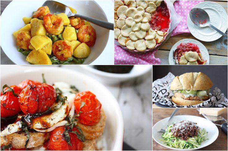 Een zomers weekmenu met o.a. pittige zalmburger, caprese nachos, garnalen in masala en rabarbertaart met appel en framboos. // Francesca Kookt