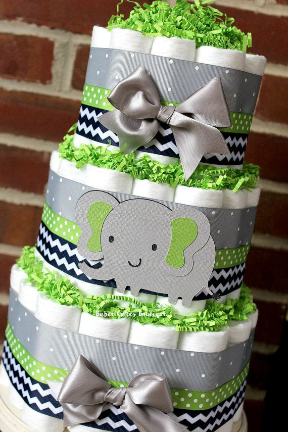 3 Tier Gray Navy and Green Elephant Diaper by BabeeCakesBoutique