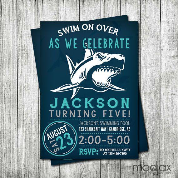 Shark Invitation DIGITAL FILE Shark by MadJaxDesignandPrint, $18.00