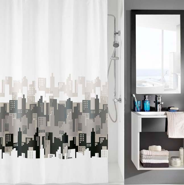 Shop this classic city design Kleine Wolke Polyester Shower Curtain.  This stylish Black & White shower curtain is fully water resistant & easy to wash.  Available from Victorian Plumbing.co.uk.