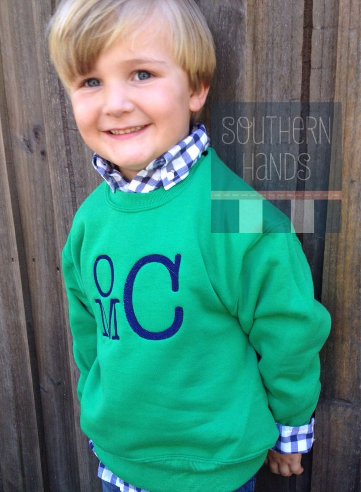 Monogrammed Crewneck Sweatshirt for Boys and Girls by SouthernHandsLLC on Etsy