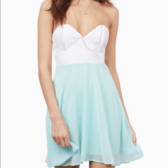 Tobi white and seafoam dress Tobi Tia dress, excellent condition. Super cute for summer BBQs and parties! Tobi Dresses