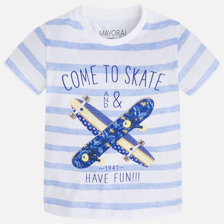 Camiseta niño manga corta print skate Paraíso