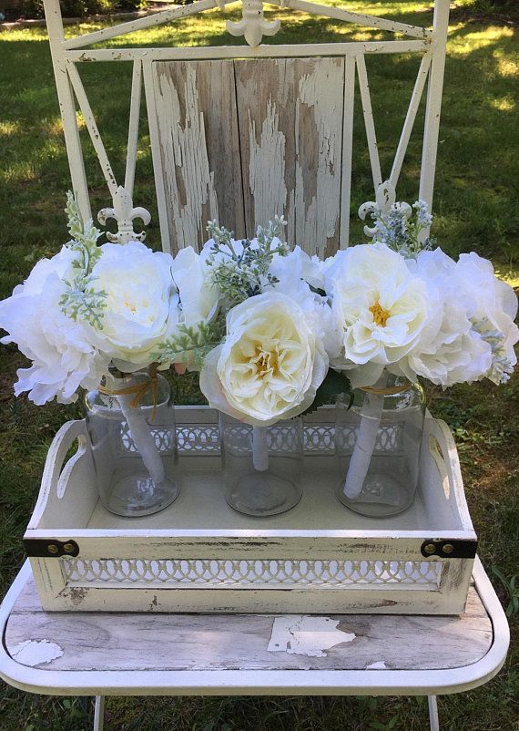 Floral Farmhouse Centerpiece French Country Cottage Decor Shabby Chic Spring Bouquets In Mason Jars White Washed Wood Tray Decor