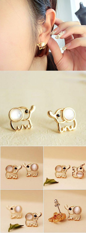 Fashion Opal Elephant Earrings Studs for big sale! #earrings #opal #elephant #studs #cute
