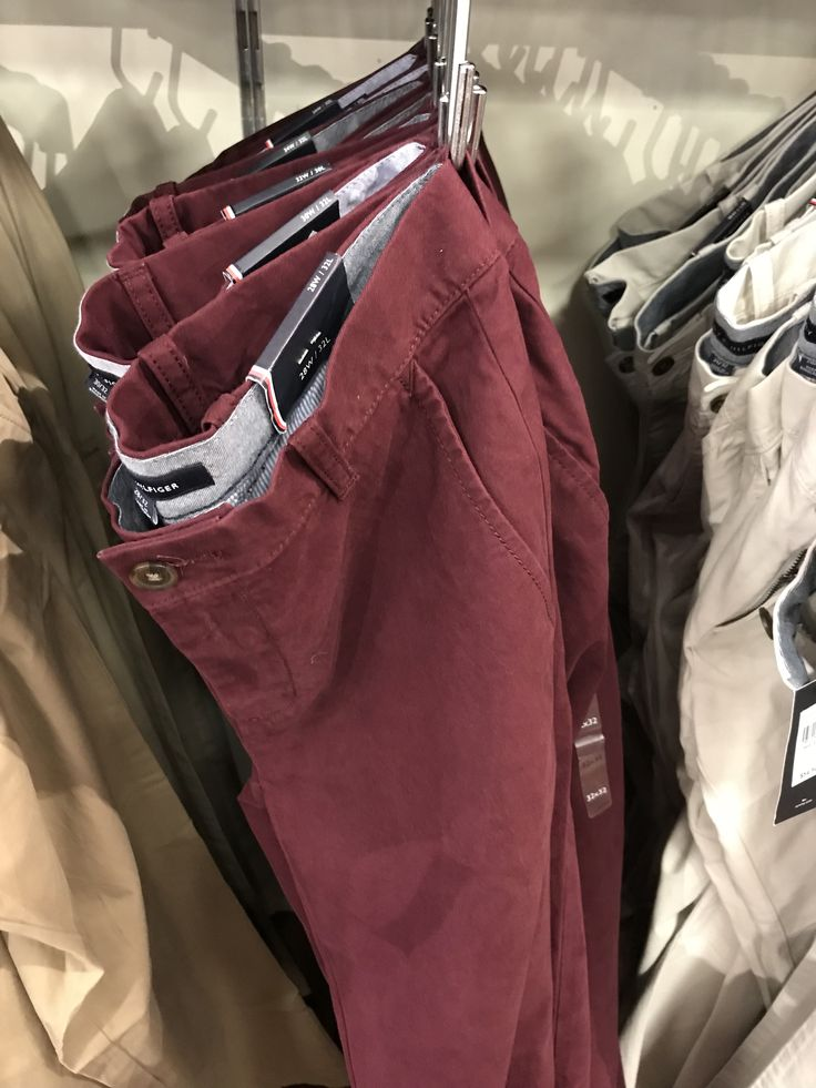 Size 30x30, Color: Burgundy  These fabulous Tommy Hilfiger pants are available at Tommy Hilfiger outlet stores. $55 regular price but almost always 40% off. I also have a coupon that gets 50-60% off that I will give to Candice who I volunteer to go get these :-)  Note: These are the regular fit/straight fit chinos. They have a slim fit also in many of the same colors, but slim is out.