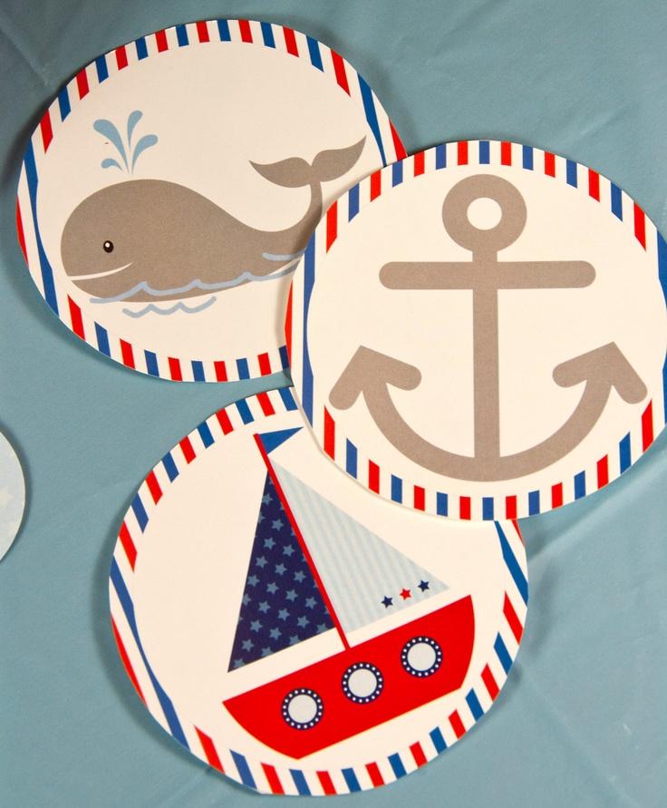 Nautical Birthday 4 Inch Party Circles.... Custom, Printable, Digital. $8.00, via Etsy.