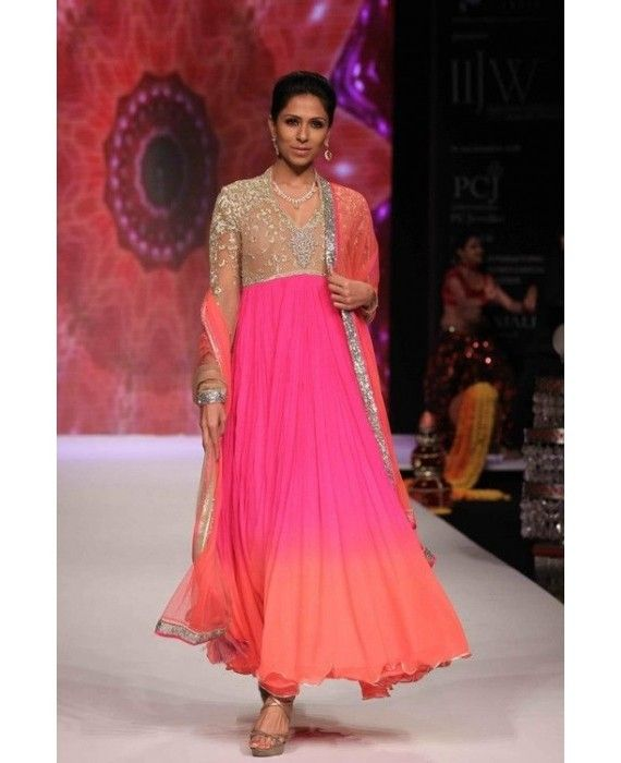 Beautiful Tie-dye Pink pleated Anarkali Dress