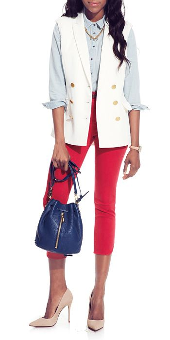 DAY 28: RED IS THE NEW BLUE (JEAN) If you go for fiery red, let it be the star. Partner that piece with neutrals.  Veronica Beard viscose blend vest, $595;   Baldwin denim shirt, $172;  Wanderluster crystal, silver plate, and gold plate necklace, $160; wanderlusternewyork.com Matt Bernson leather belt, $57;   Fossil rose gold plate watch with leather strap, $115;   Elizabeth and James lambskin bag, $445;   Nubuck Schutz pumps, $150;