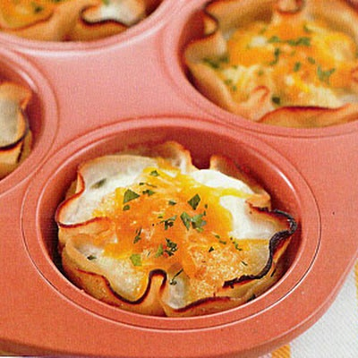 The Biggest Loser's Baked Eggs in Turkey Cups. Mom, I make these all the time. I bet you could make ahead and reheat in toaster oven.