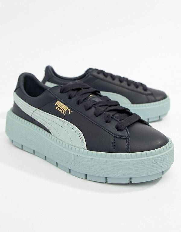 Discover women s fashion online with ASOS. Puma Platform Trace Sneakers in  blue 67b398b3b