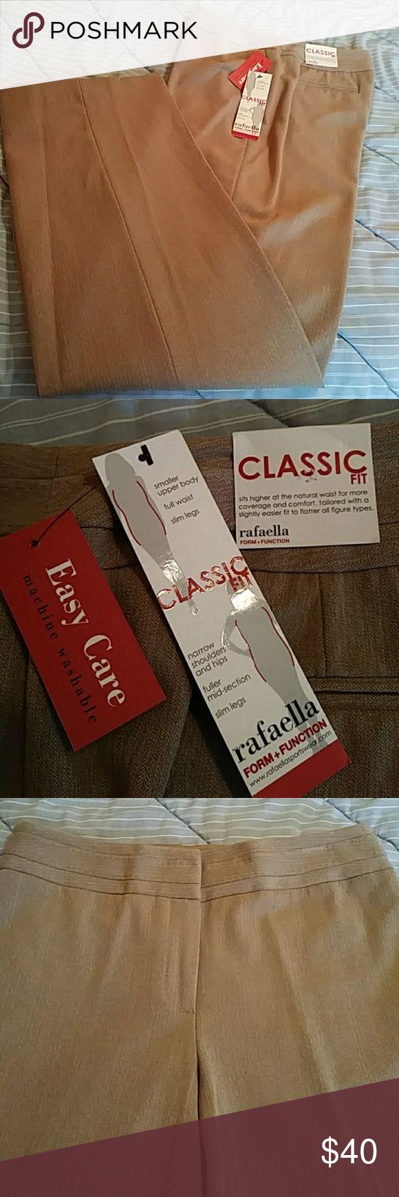 Rafaella pants Flat zip front, heathered camel color, boot cut Rafaella Pants Boot Cut & Flare