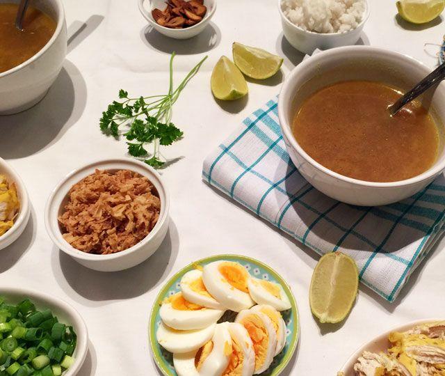 Snelle Soto (soep) een van mijn favoriete soepjes. Snel op tafel en ideaal als je een grote groep 'eters' krijgt. Voeg zelf toe wat je lekker vindt.
