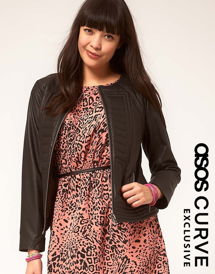 ASOS CURVE Exclusive Leather Jacket With Stitch Detail  $214.86
