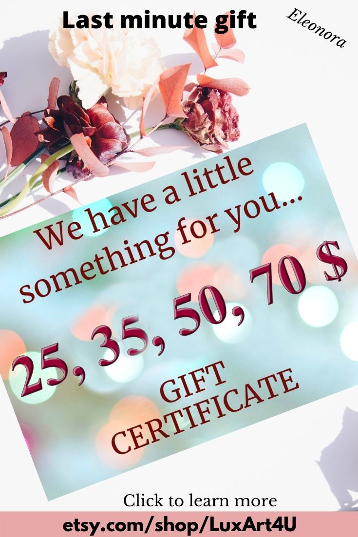 Digital gift certificates for 25 35  50 70 dollars to spend in LuxArt4U Etsy shop Printable gift cards make the perfect last minute gift