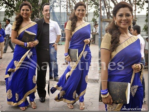 Bollywood celebrity in beautiful blue designer embroidery saree with cream border at Star Pariwar Awards 2014. Embroidered mirrors and patch work designs on it. Paired with designer ruffled sleeves saree blouse with round neck pattern.