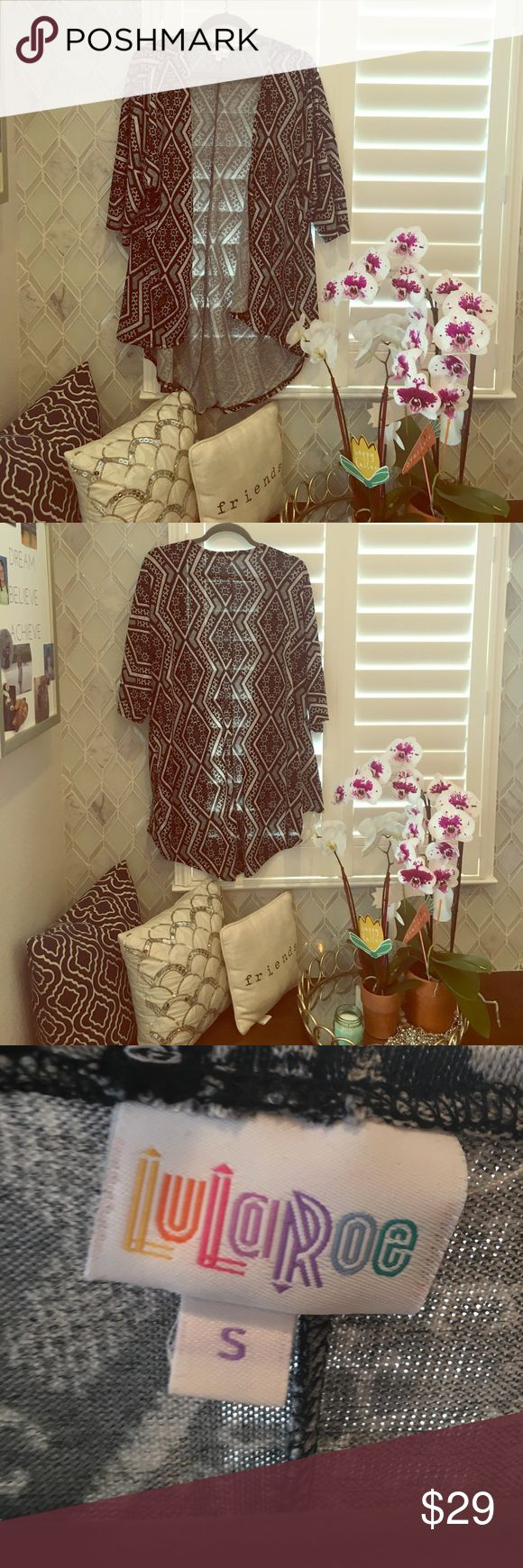 Lularoe Lindsay S tribal cover up Beautiful tribal Lindsay worn a handful of times size small. Perfect for summer. Looks great over a bathing suit! LuLaRoe Sweaters Cardigans