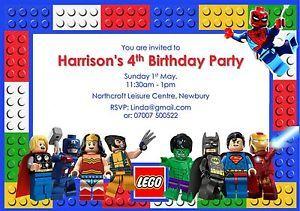 10 Personalised Lego Superhero Birthday Party invitations Free envelopes 300gsm