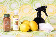 3 large lemons  2 bags of chamomile tea  1 teaspoon ground cinnamon  1 tablespoon almond oil or coconut oil  an empty spray bottle
