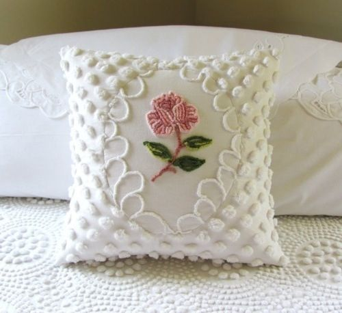 Pink Pillow Cover One Rose Vintage Chenille Pink Cushion Cover Cottage Chic Shabby Style