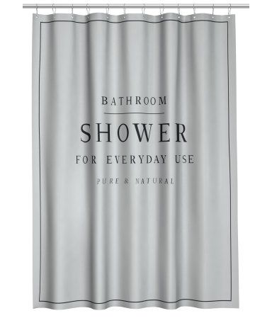 Light gray. Shower curtain in water-repellent polyester with printed text. Metal grommets at top. Shower curtain rings sold separately.
