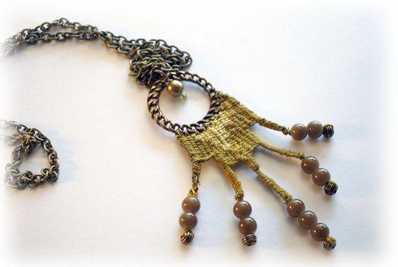 handwoven long necklace/ khaki and lime/ boho от JewelryByFlorita