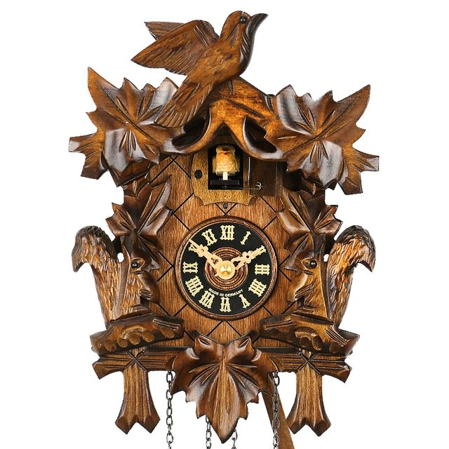 This Black Forest Cuckoo Clock depicts Squirrels playing in the trees as a variation of the classical bird carving design …