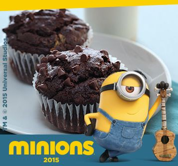 Chiquita bananen en zeer donkere chocolade creëren deze betoverend volle muffins.