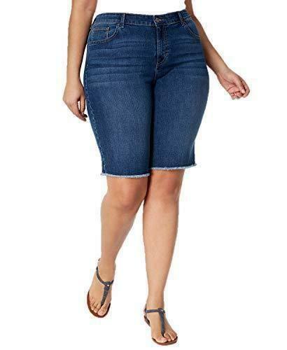 aae51c0f5a5 Style   Co Frayed Hem Denim Jean Bermuda Shorts Marine Blue Plus Size 22W  NWT P4