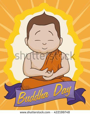 Commemorative card for Vesak with meditative Buddha and greeting ribbon.