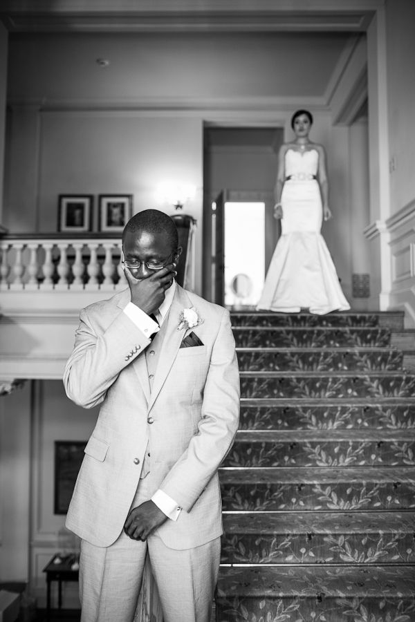 groom becomes emotional before first look with his bride at the Cairnwood Mansion near philadelphia. Images by Philadelphia wedding photographer Ben Weldon of Weldon Weddings.