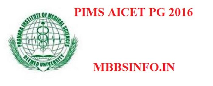 PIMS AICET PG 2016 Application form Eligibilitymbbsinfo