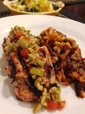 Grilled Spiced Chicken with Peppered Cabbage