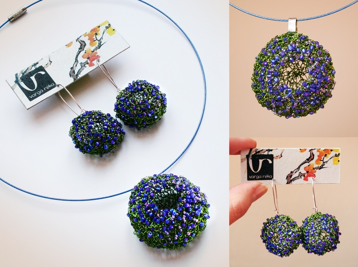 Green wire crocheted set with a mixture of small bluish Japanese beads including an open ball-shaped medal and earrings http://vargarekajewellery.bigcartel.com/product/crocheted-necklace-and-earrings